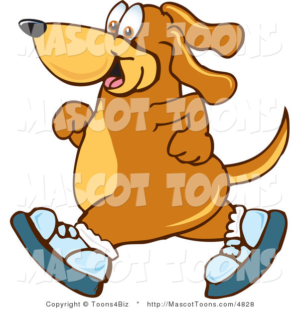 Mascot Vector Cartoon of a Happy Athletic Brown Dog Mascot Cartoon Character Wearing Tennis Shoes and Taking a Walk