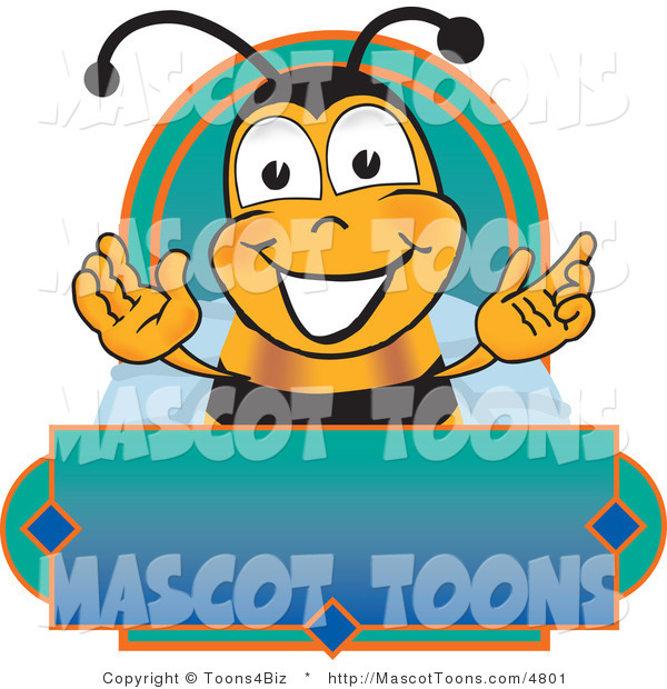 Mascot Vector Cartoon of a Happy Bee Mascot Cartoon Character on a Blank Blue and Green Label