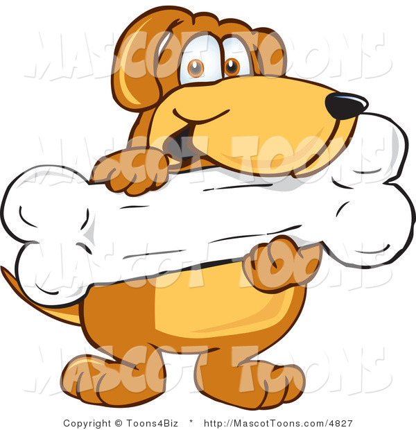 Mascot Vector Cartoon of a Happy Brown Dog Mascot Cartoon Character Holding a Large Doggy Bone Treat