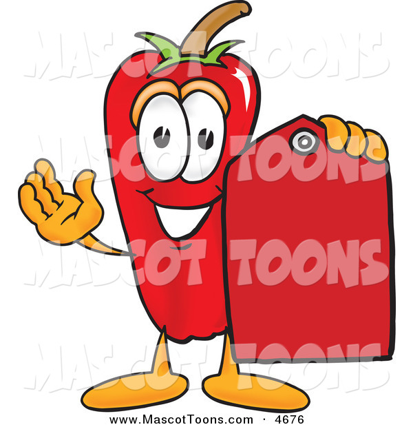 Mascot Vector Cartoon of a Happy Chili Pepper Mascot Cartoon Character Holding a Red Price Tag