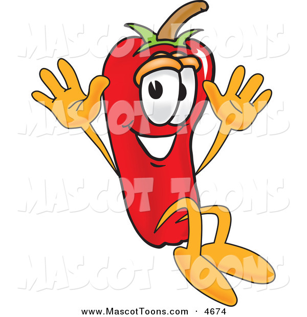 Mascot Vector Cartoon of a Happy Chili Pepper Mascot Cartoon Character Jumping