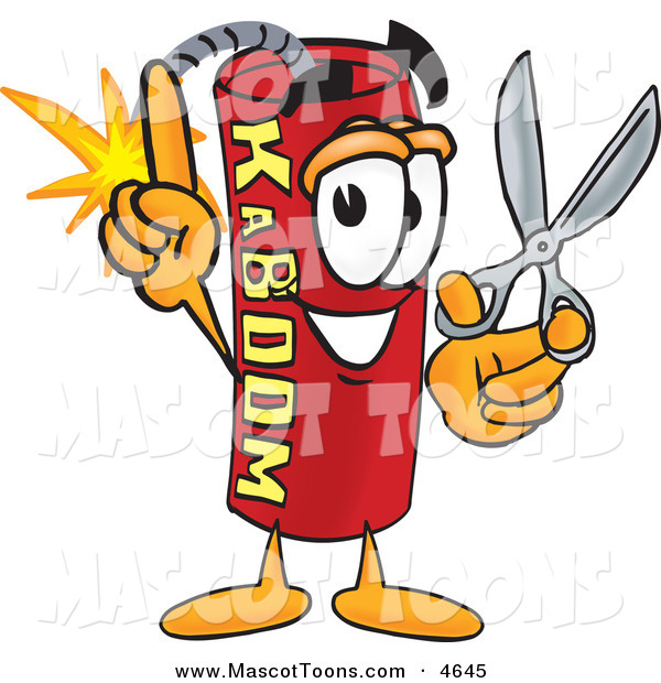 Mascot Vector Cartoon of a Happy Dynamite Mascot Cartoon Character Holding Scissors