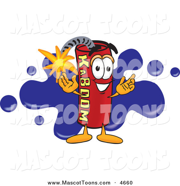 Mascot Vector Cartoon of a Happy Dynamite Mascot Cartoon Character with a Blue Paint Splatter