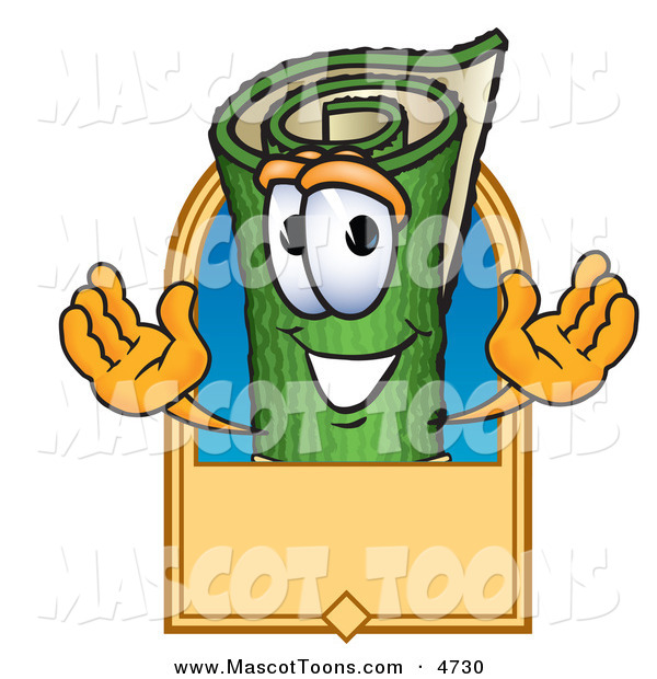 Mascot Vector Cartoon of a Happy Green Carpet Mascot Cartoon Character with a Blank Tan Label