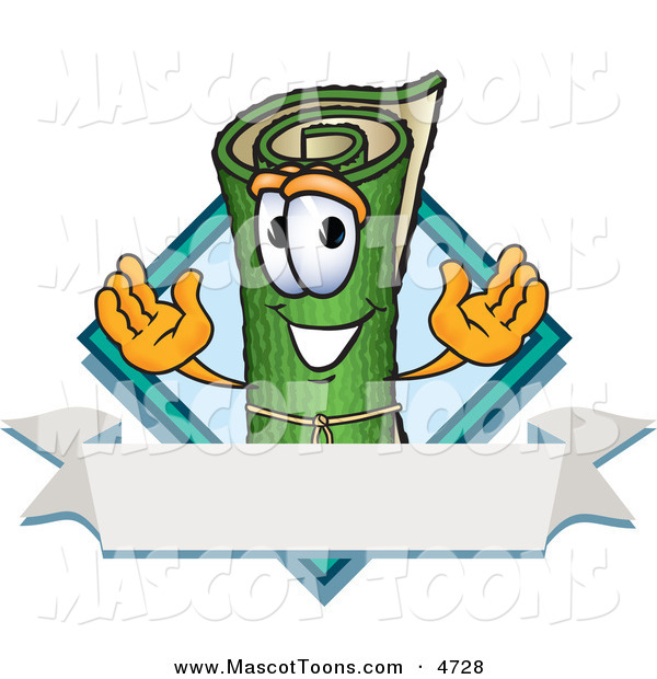 Mascot Vector Cartoon of a Happy Rolled Green Carpet Mascot Cartoon Character with a Blank Label