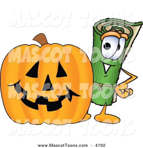 Mascot Vector Cartoon of a Happy Rolled Green Carpet Mascot Cartoon Character with a Carved Halloween Pumpkin