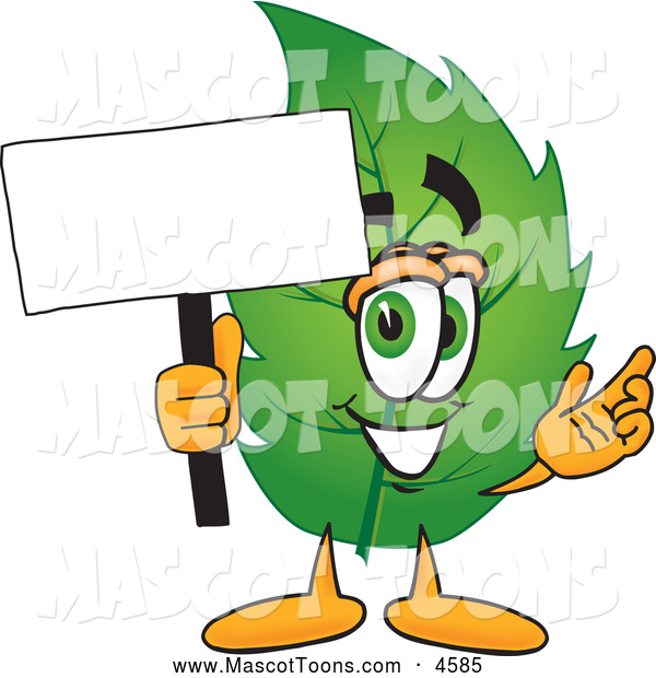Mascot Vector Cartoon of a Healthy Leaf Mascot Cartoon Character Holding a Blank White Sign