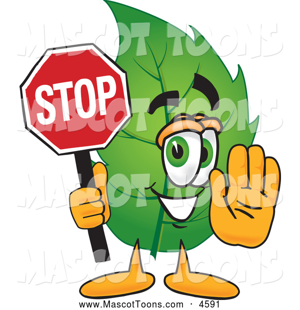 Mascot Vector Cartoon of a Healthy Leaf Mascot Cartoon Character Holding a Stop Sign