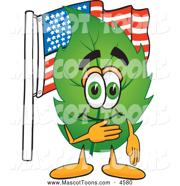 Mascot Vector Cartoon of a Healthy Leaf Mascot Cartoon Character Pledging Allegiance to an American Flag