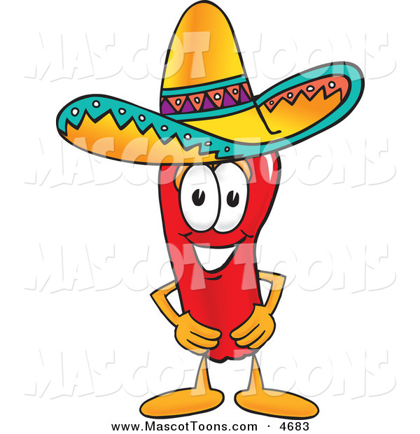 Mascot Vector Cartoon of a Hispanic Chili Pepper Mascot Cartoon Character Wearing a Sombrero
