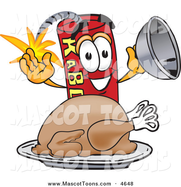 Mascot Vector Cartoon of a Hungry and Smiling Dynamite Mascot Cartoon Character with a Thanksgiving Turkey on a Platter
