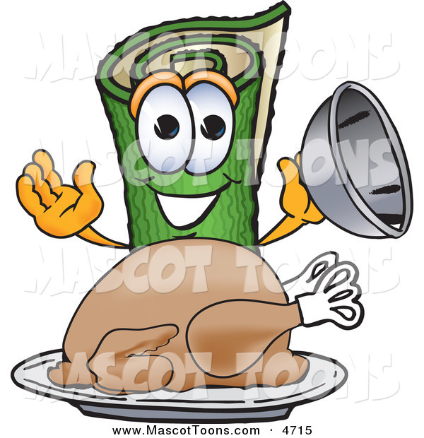 Mascot Vector Cartoon of a Hungry and Smiling Green Carpet Mascot Cartoon Character with a Thanksgiving Turkey on a Platter