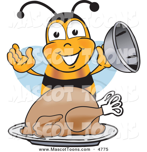 Mascot Vector Cartoon of a Hungry Bee Mascot Cartoon Character Holding the Lid to a Platter with a Thanksgiving Turkey on It