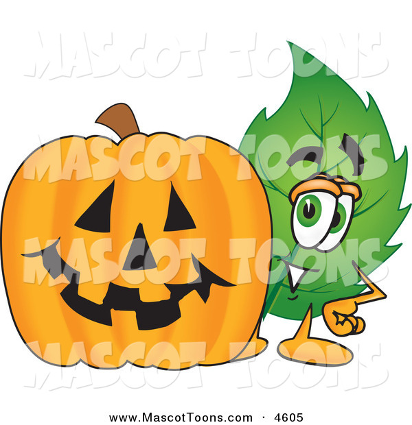 Mascot Vector Cartoon of a Leaf Mascot Cartoon Character with a Halloween Jack O Lantern Pumpkin