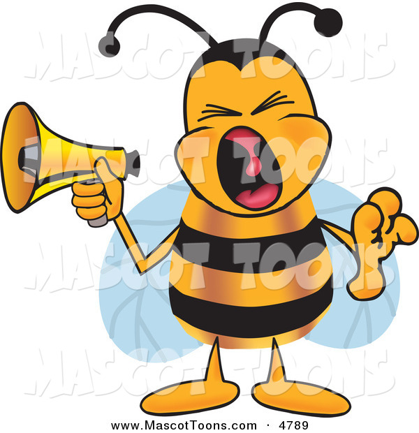 Mascot Vector Cartoon of a Loud Bee Mascot Cartoon Character Screaming into a Megaphone