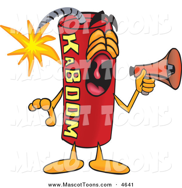 Mascot Vector Cartoon of a Loud Dynamite Mascot Cartoon Character Screaming into a Megaphone