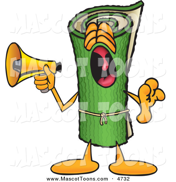Mascot Vector Cartoon of a Loud Green Carpet Mascot Cartoon Character Screaming into a Megaphone