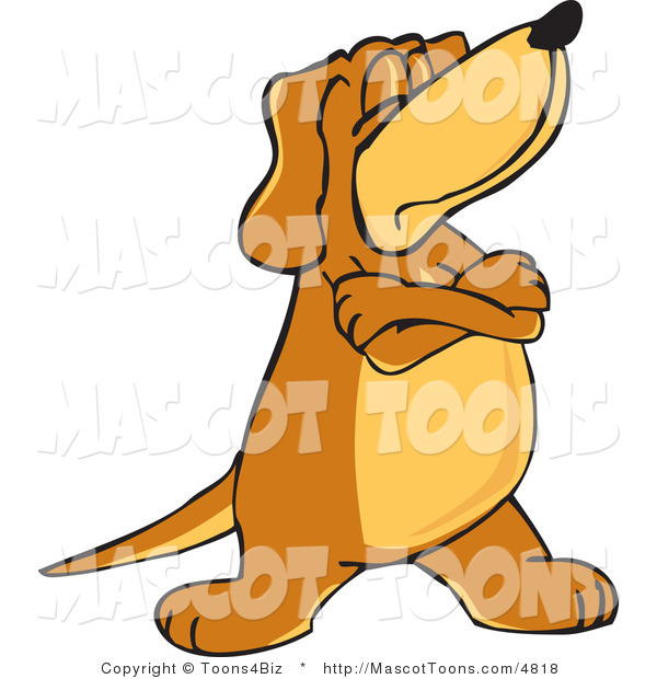 Mascot Vector Cartoon of a Moody and Stubborn Brown Dog Mascot Cartoon Character with Crossed Arms, Disobeying Commands