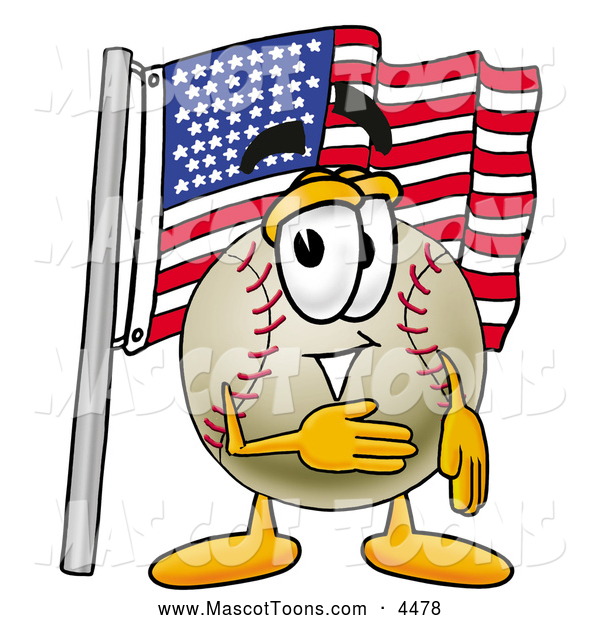 Mascot Vector Cartoon of a Patriotic Baseball Mascot Cartoon Character Pledging Allegiance to an American Flag