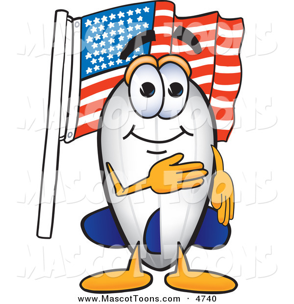 Mascot Vector Cartoon of a Patriotic Blimp Mascot Cartoon Character Pledging Allegiance to the American Flag