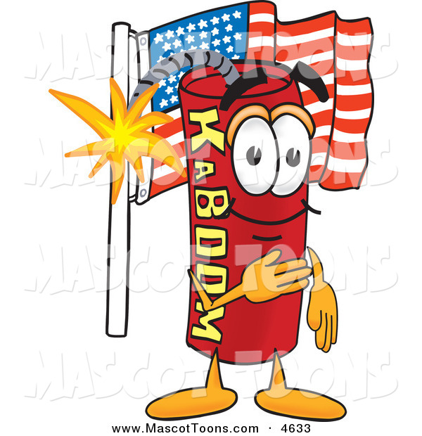 Mascot Vector Cartoon of a Patriotic Dynamite Mascot Cartoon Character Pledging Allegiance to the American Flag