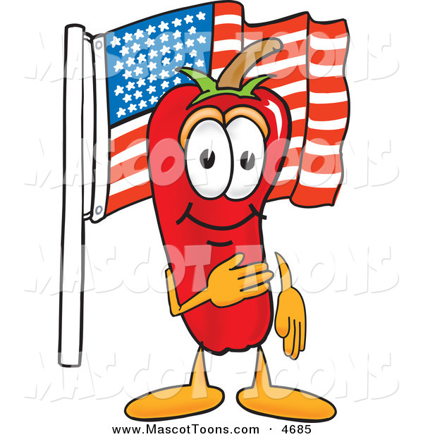 Mascot Vector Cartoon of a Patriotic Red Hot Chili Pepper Mascot Cartoon Character Pledging Allegiance to the American Flag