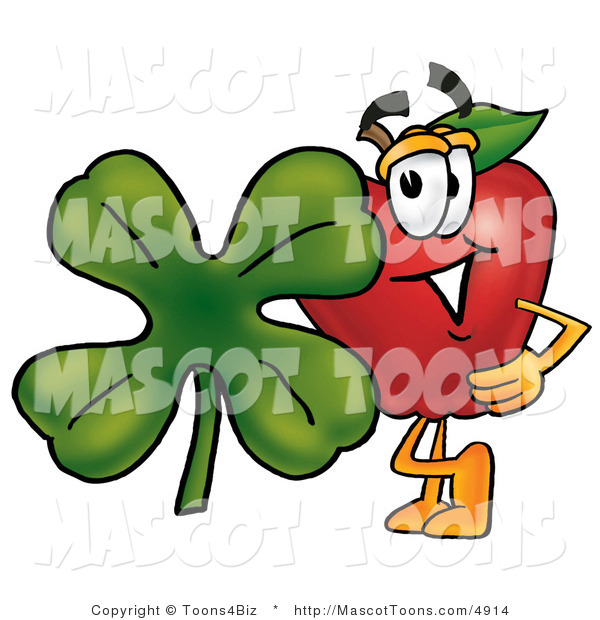 Mascot Vector Cartoon of a Red Apple with a Green Four Leaf Clover on St Paddy's or St Patricks Day