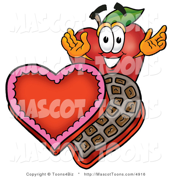 Mascot Vector Cartoon of a Red Apple with Valentines Day Candy