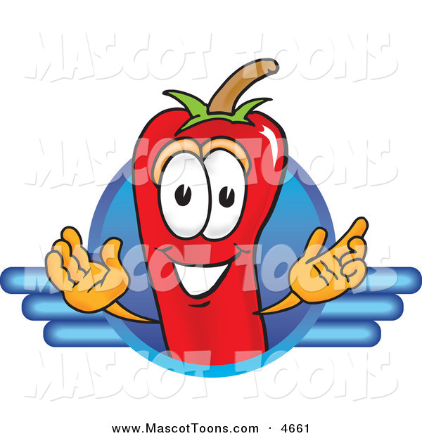 Mascot Vector Cartoon of a Red Chili Pepper Mascot Cartoon Character Logo on White