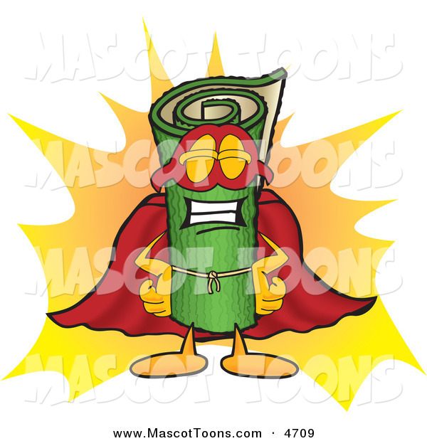 Mascot Vector Cartoon of a Rolled Green Carpet Mascot Cartoon Character Dressed As a Super Hero