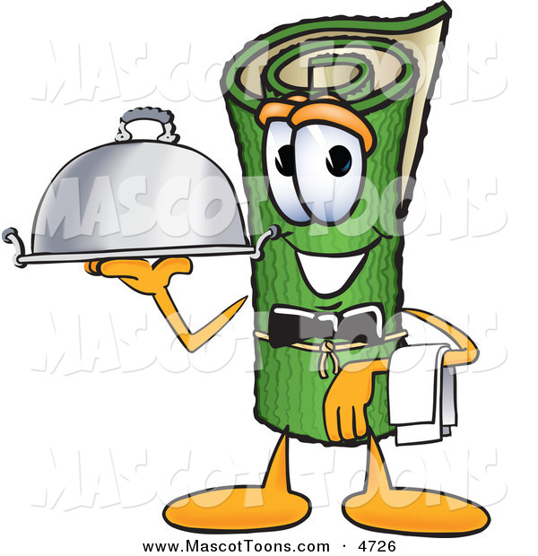 Mascot Vector Cartoon of a Rolled Green Carpet Mascot Cartoon Character Dressed As a Waiter and Holding a Platter