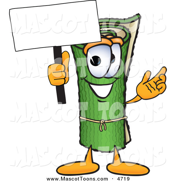 Mascot Vector Cartoon of a Rolled Green Carpet Mascot Cartoon Character Holding a Blank Sign