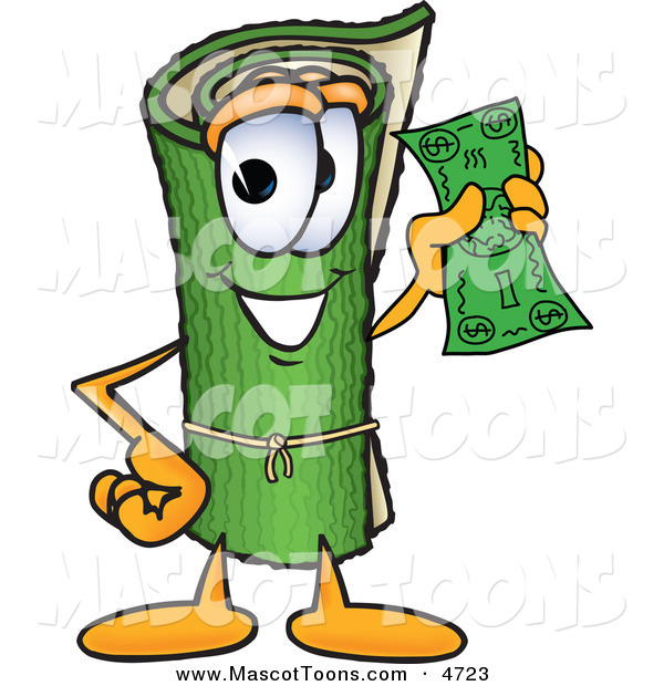 Mascot Vector Cartoon of a Rolled Green Carpet Mascot Cartoon Character Holding a Dollar Bill
