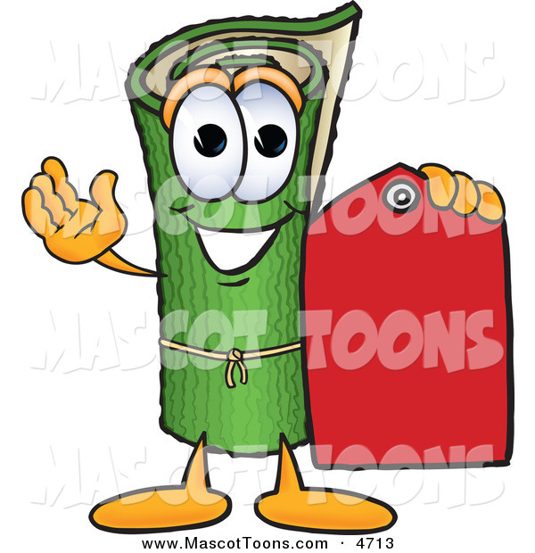 Mascot Vector Cartoon of a Rolled Green Carpet Mascot Cartoon Character Holding a Red Price Tag