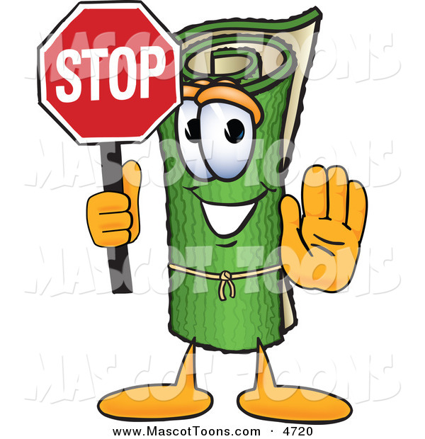 Mascot Vector Cartoon of a Rolled Green Carpet Mascot Cartoon Character Holding a Stop Sign