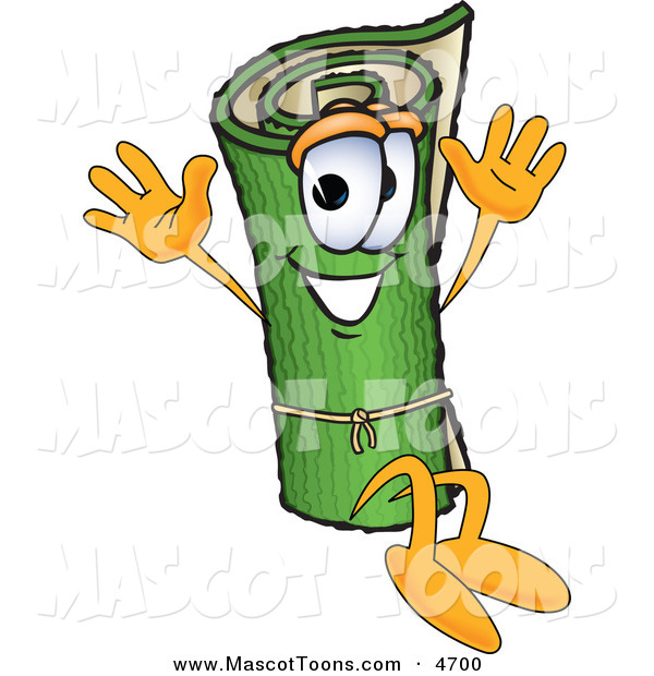 Mascot Vector Cartoon of a Rolled Green Carpet Mascot Cartoon Character Jumping