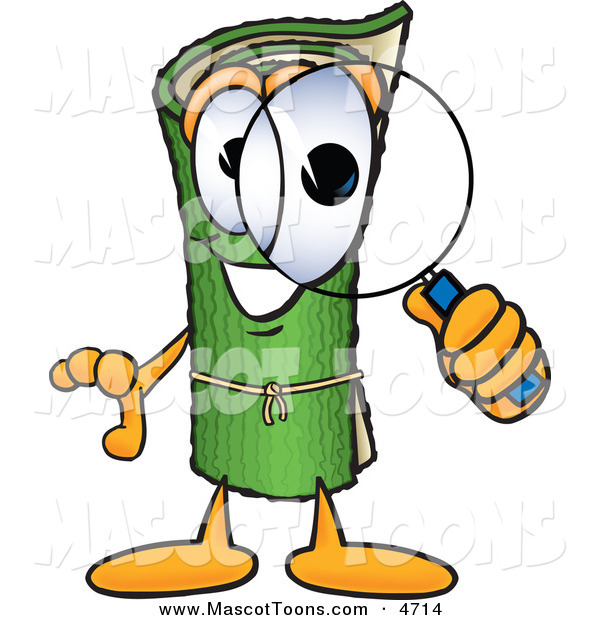 Mascot Vector Cartoon of a Rolled Green Carpet Mascot Cartoon Character Looking Through a Magnifying Glass