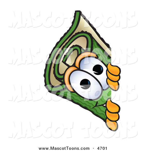 Mascot Vector Cartoon of a Rolled Green Carpet Mascot Cartoon Character Peeking Around a Corner