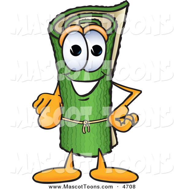 Mascot Vector Cartoon of a Rolled Green Carpet Mascot Cartoon Character Pointing at the Viewer