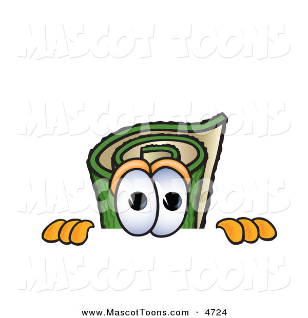 Mascot Vector Cartoon of a Rolled Green Carpet Mascot Cartoon Character Scared, Peeking over a Surface