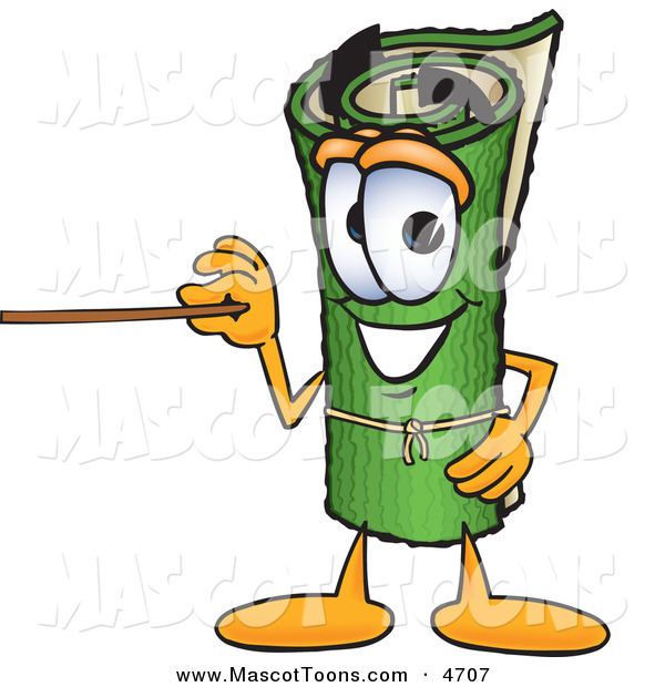 Mascot Vector Cartoon of a Rolled Green Carpet Mascot Cartoon Character Using a Pointer Stick