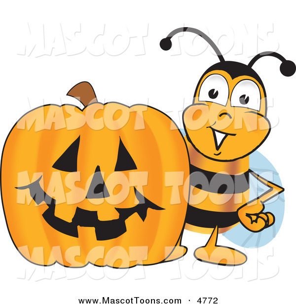 Mascot Vector Cartoon of a Smiling Bee Mascot Cartoon Character with a Carved Halloween Pumpkin