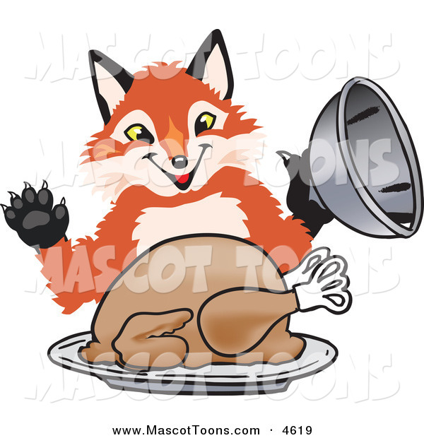 Mascot Vector Cartoon of a Smiling Fox Mascot Cartoon Character Serving a Thanksgiving Turkey on a Platter