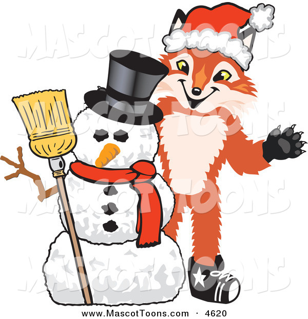 Mascot Vector Cartoon of a Smiling Fox Mascot Cartoon Character with a Snowman on Christmas