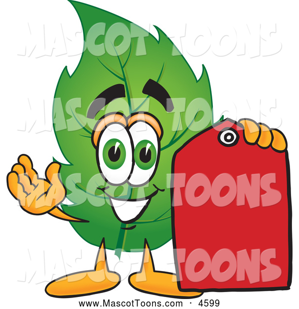 Mascot Vector Cartoon of a Smiling Leaf Mascot Cartoon Character Red Clearance Sales Price Tag