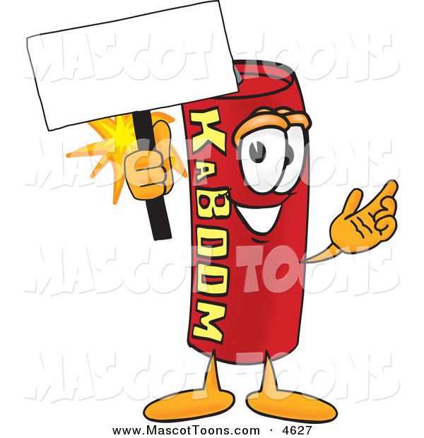 Mascot Vector Cartoon of a Stick of Dynamite Mascot Cartoon Character Holding a Blank Sign