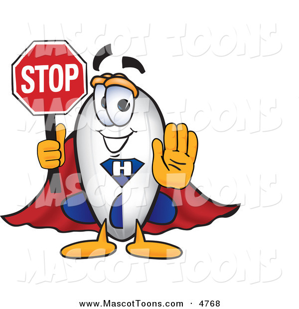 Mascot Vector Cartoon of a White Blimp Mascot Cartoon Character Holding a Stop Sign with His Arm out in Front