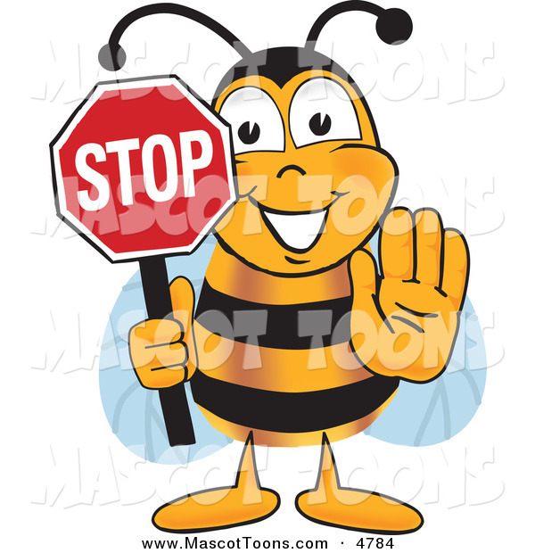 Mascot Vector Cartoon of a Yellow Bumblebee Mascot Cartoon Character Holding His Hand out and a Red Stop Sign