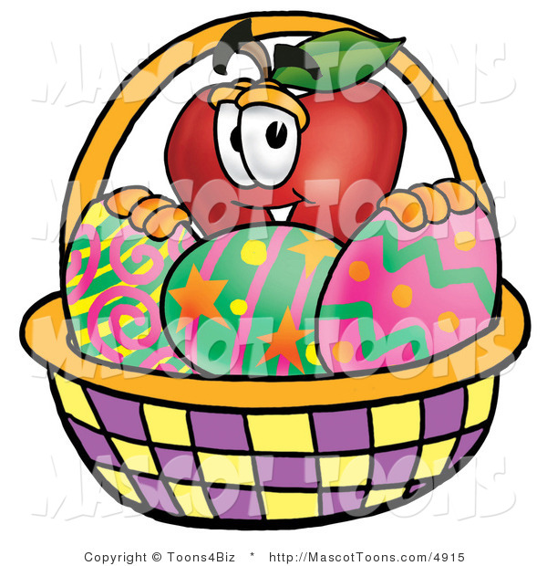 Mascot Vector Cartoon of an Easter Apple