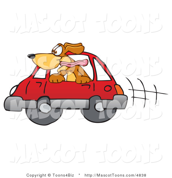 Mascot Vector Cartoon of an Overly Excited Brown Dog Mascot Cartoon Character Sticking His Head out of a Car Window